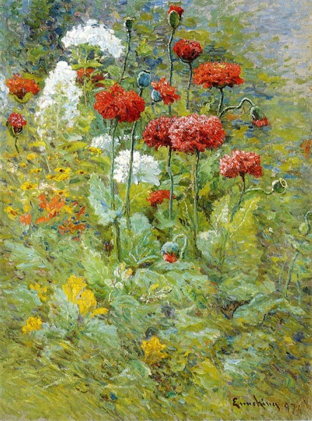 Flowers in a Garden by Joseph Eliot Enneking
