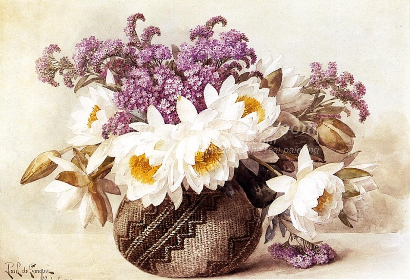 Flowers in an Indian Basket by Paul De Longpre