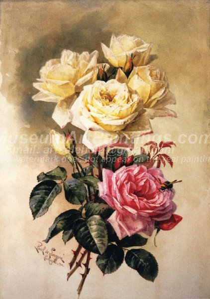 French Bridal Roses by Paul De Longpre