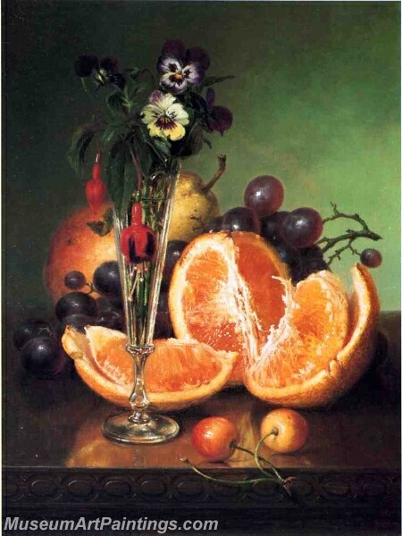 Fruit Flowers and a Wineglass on a Tabletop Painting