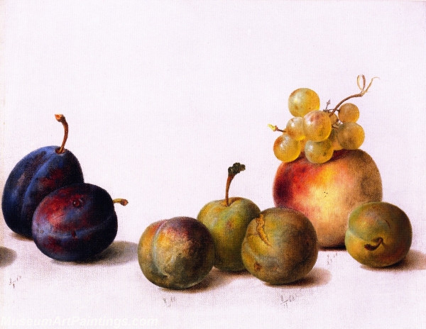 Fruit Paintings Still Life Plums Peach and Grapes