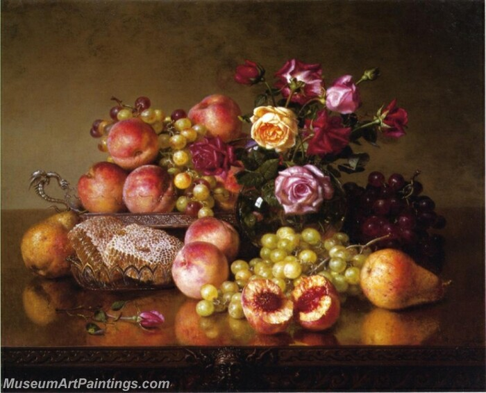 Fruit Still Life with Roses and Honeycomb Painting
