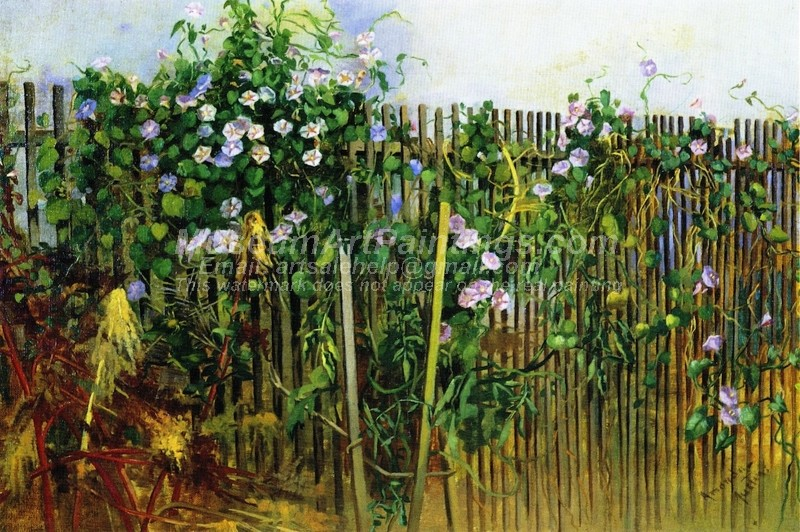 Garden Oil Painting Morning Glories