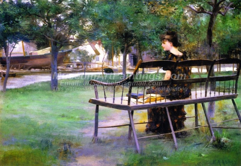 Garden Oil Paintings Woman on a Park Bench