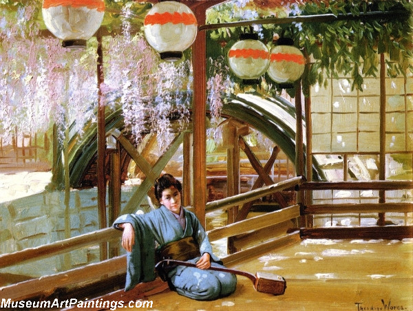Garden Painting A Japanese Bridge
