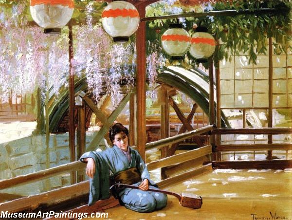 Garden Painting A Japanese Bridge