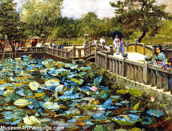 Garden Painting Lotus Pond Shiba Tokyo