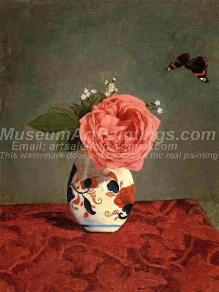 Garden Rose and Blue Forget Me Nots in a Vase Painting
