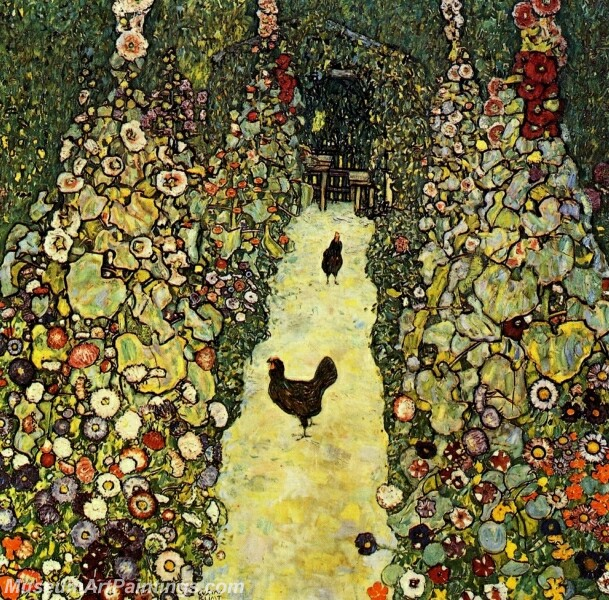 Garden with Roosters Painting