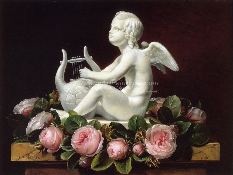 Garland of Pink Roses around Cupid Playing a Lyre on a Brown Marble Ledge