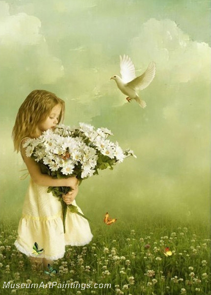 Girl Holding the Daisies Oil Painting