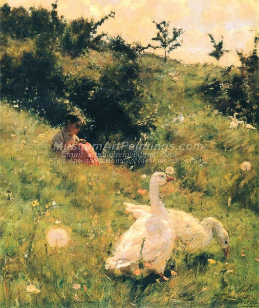 Girl with Geese by Kiriak Kostandi