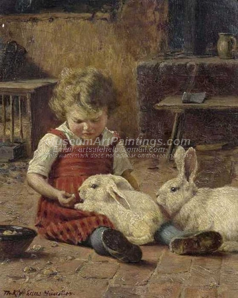 Girl with two hares