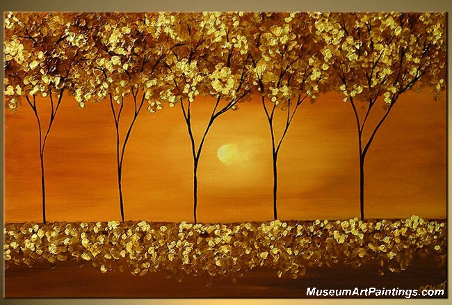 Gold Tree Landscape Painting 002