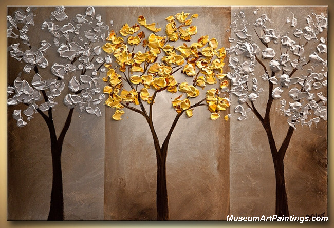 Gold Tree Landscape Painting 004