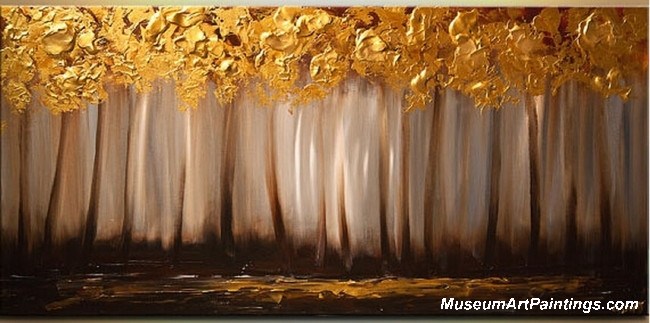 Golden Autumn Tree Landscape Painting 014