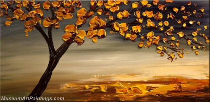 Golden Flower Tree Painting Modern Abstract Art for Sale GT016