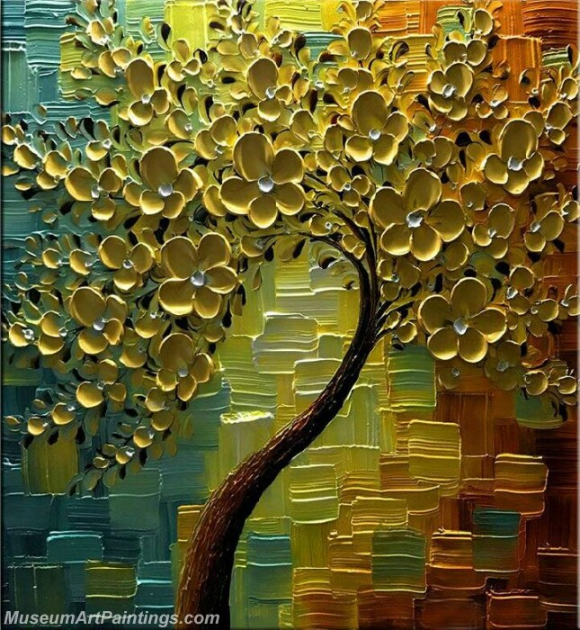 Golden Flower Tree Painting Modern Abstract Art for Sale GT024