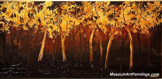 Golden Tree Landscape Painting 012