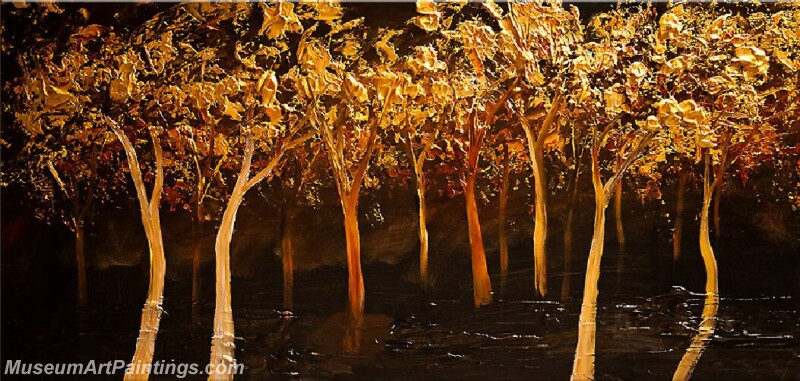 Golden Tree Painting Modern Abstract Art for Sale GT027