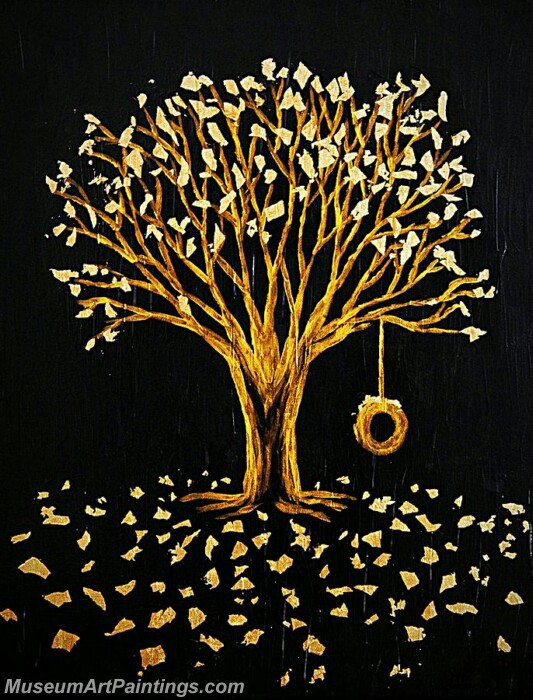 Golden Tree Painting Modern Abstract Art for Sale GT09