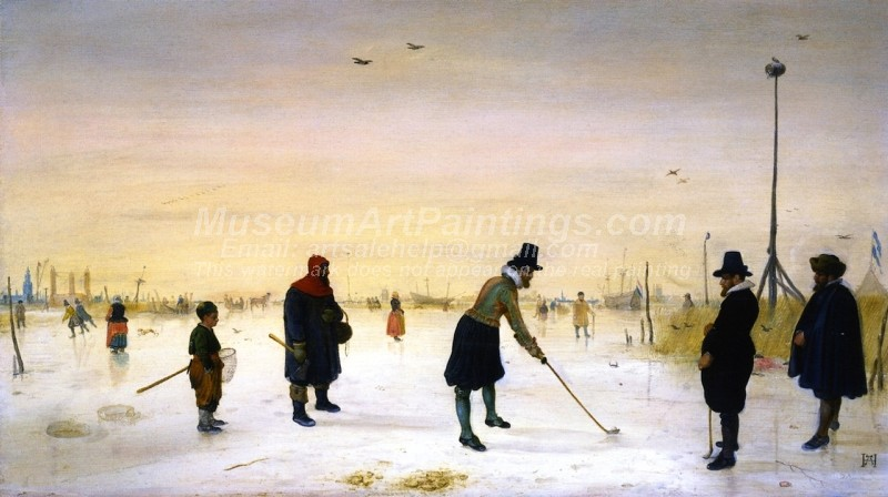 Golf Players on the Ice Painting by Hendrick Avercamp
