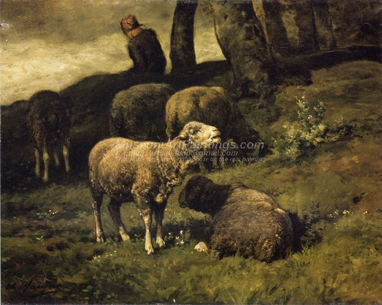 Grazing Sheep with a Sheperdhess Beyond