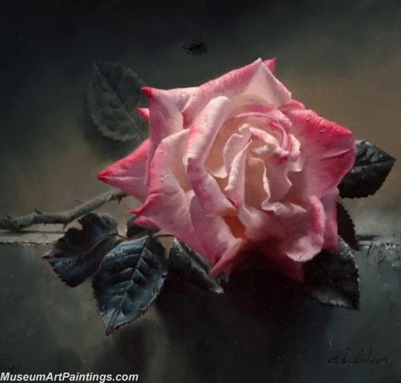 Hand Painted Flower Paintings Pink Rose 059