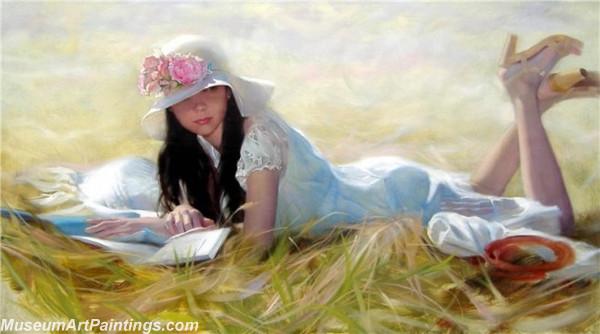 Handmade Beautiful Woman Portrait Painting 010