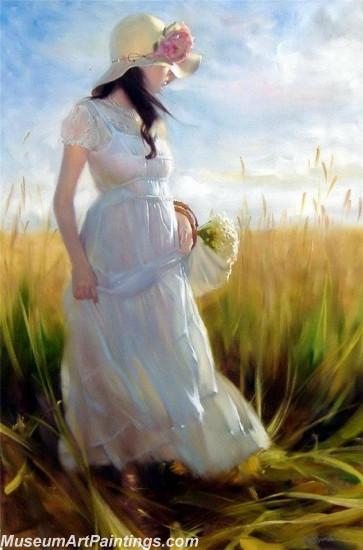 Handmade Beautiful Woman Portrait Painting 014