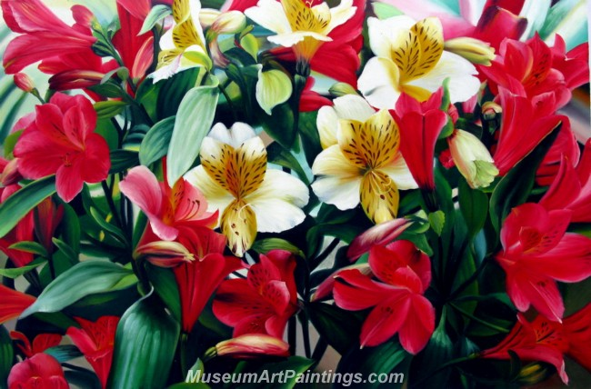 Handmade Flower Oil Painting Blooming Lilies