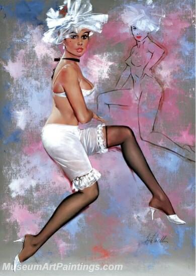 Handmade Modern Paintings of Women Pinup Girl Oil Paintings M2