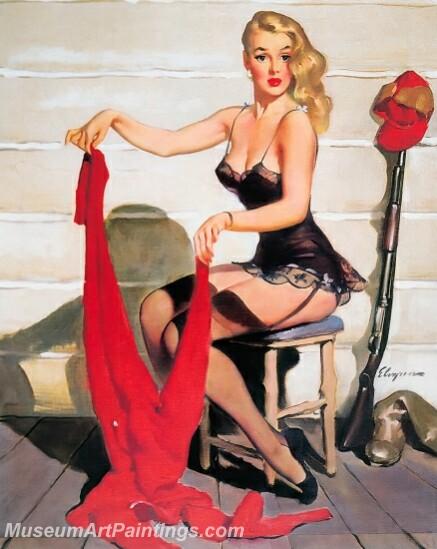 Handmade Modern Paintings of Women Pinup Girl Oil Paintings M3