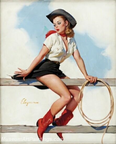 Handmade Modern Paintings of Women Pinup Girl Oil Paintings M4