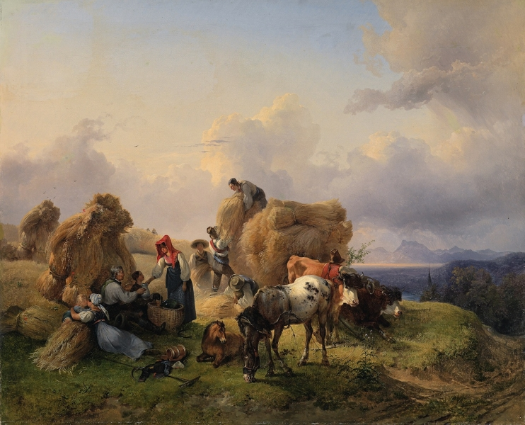 Harvesting in the Foothills of the Alps by Friedrich Gauermann