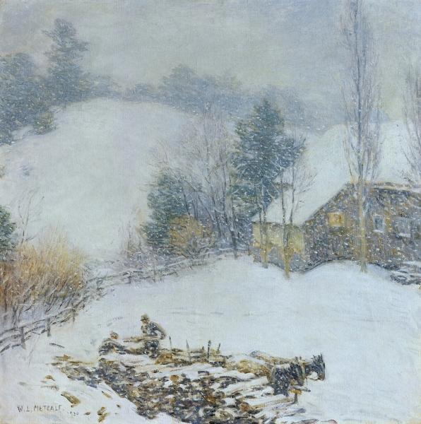 Hauling Wood Winter by Willard Leroy Metcalf