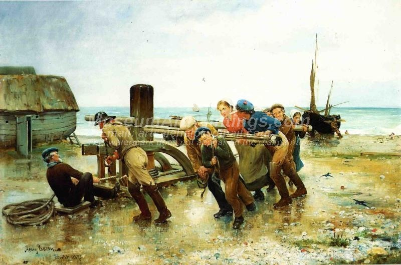 Hauling a Ship by Henry Bacon
