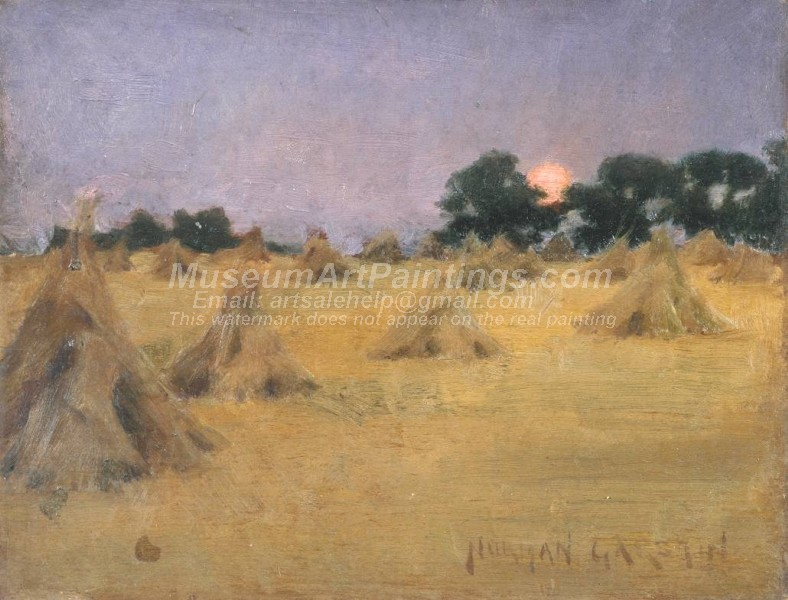 Haycocks and Sun Painting by Norman Garstin