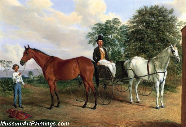 Horse Paintings Self Portrait in a Carriage