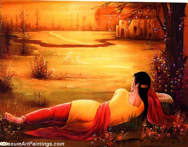 Indian Girl Painting Waiting