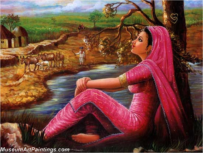 Indian Girl Paintings Waiting