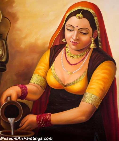 Indian Village Woman Painting