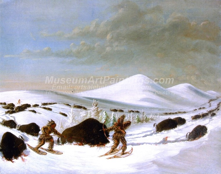Indians Oil Paintings Buffalo Hunt in Winter