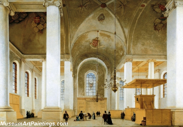 Interior of the Nieuwe or St Annakerk in Haarlem seen from west to east Painting