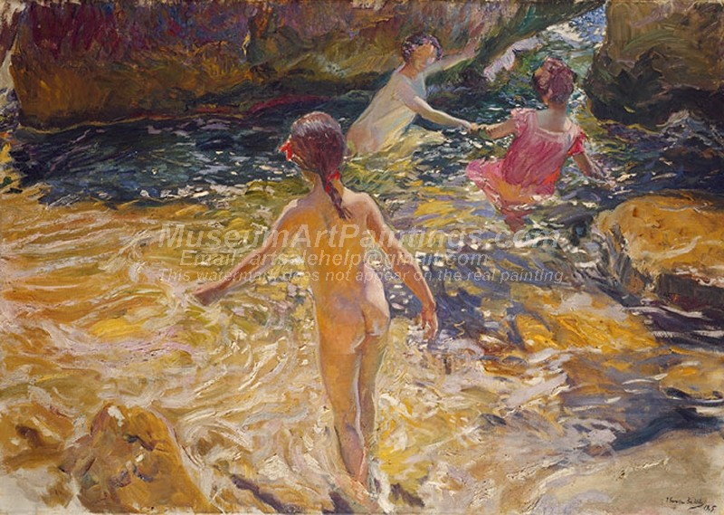 Joaquin Sorolla y Bastida Painting The Bath Javea