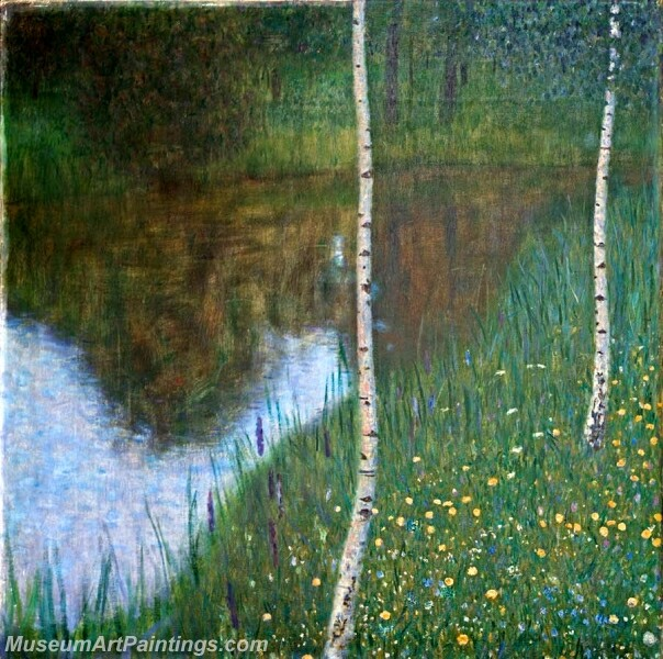Lakeside with Birch Trees Painting