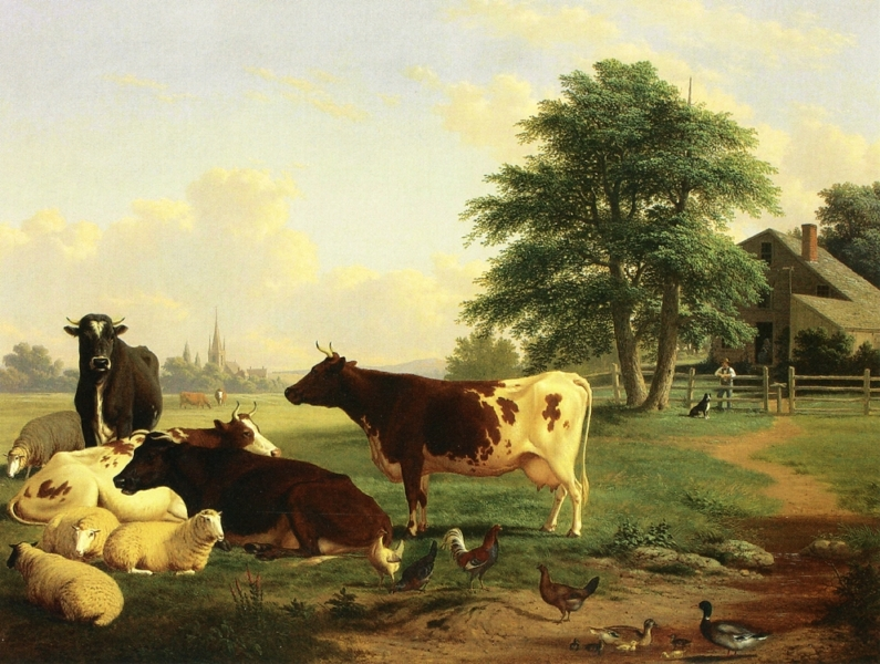 Landscape Cattle Woman Boy and Newfoundland Dog by Thomas Hewes Hinckley