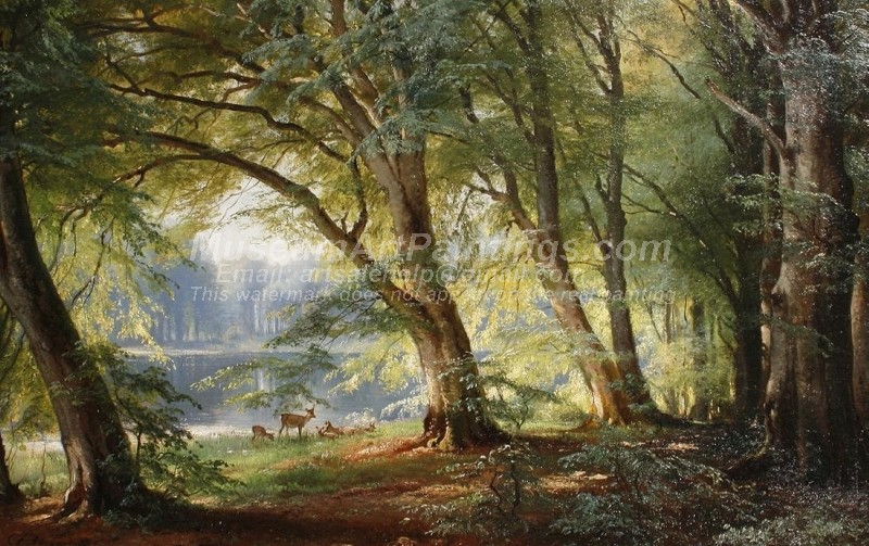 Landscape Oil Paintings Deer beside a Lake