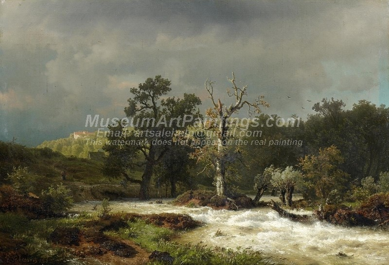 Landscape Oil Paitings Course of a River in Hesse before the Tempest