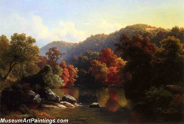 Landscape Painting Autumn on the River